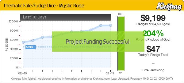 Thematic Fate/Fudge Dice - Mystic Rose -- Kicktraq Mini