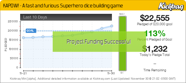 KAPOW! - A fast and furious Superhero dice building game - Kicktraq Mini