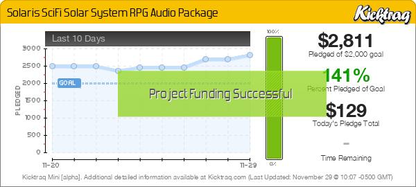 Solaris Sci-Fi Solar System RPG Audio Package -- Kicktraq Mini