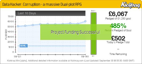 Data Hacker: Corruption - a massive Dual-plot RPG -- Kicktraq Mini