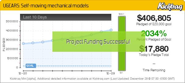 UGEARS: Self-moving mechanical models -- Kicktraq Mini