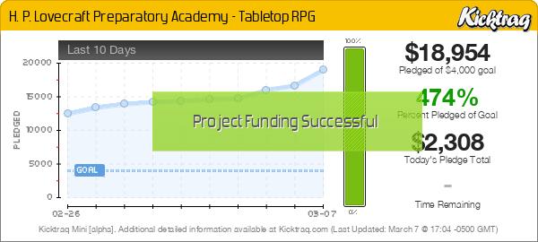 H. P. Lovecraft Preparatory Academy - Tabletop RPG - Kicktraq Mini