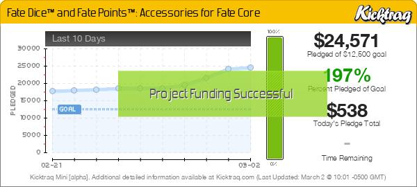 Fate Dice™  & Fate Points™: Accessories for Fate Core -- Kicktraq Mini