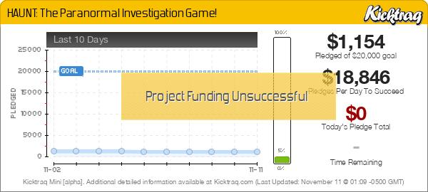 HAUNT: The Paranormal Investigation Game! -- Kicktraq Mini