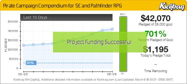 Pirate Campaign Compendium for 5E and Pathfinder RPG - Kicktraq Mini