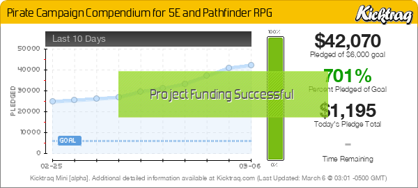 Pirate Campaign Compendium for 5E and Pathfinder RPG -- Kicktraq Mini