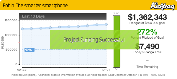 Robin. The smarter smartphone. -- Kicktraq Mini