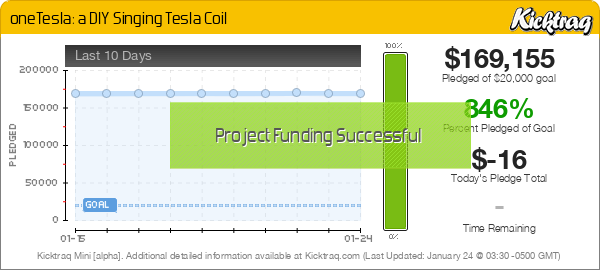oneTesla: a DIY Singing Tesla Coil -- Kicktraq Mini