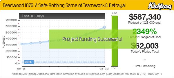 By Travis Hancock 3 created Follow Deadwood 1876: A Safe-Robbing Game of Teamwork & Betrayal - Kicktraq Mini