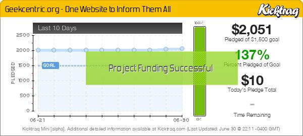 Geekcentric.org - One Website to Inform Them All -- Kicktraq Mini