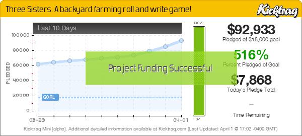Three Sisters: A backyard farming roll and write game! -- Kicktraq Mini