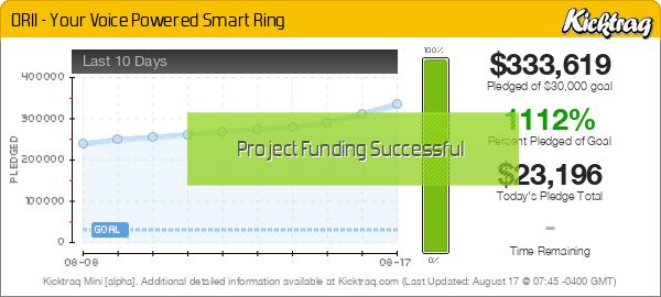 ORII - Your Voice Powered Smart Ring -- Kicktraq Mini