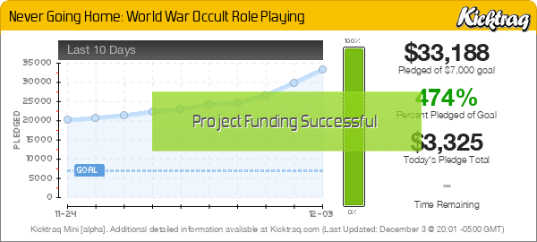 Never Going Home: World War Occult Role Playing -- Kicktraq Mini