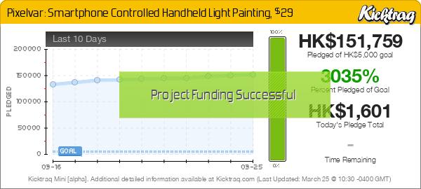Pixelvar: Smartphone Controlled Handheld Light Painting, $29 -- Kicktraq Mini