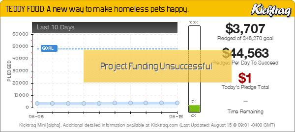 TEDDY FOOD: A new way to make homeless pets happy. -- Kicktraq Mini