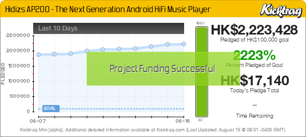 Hidizs AP200 - The Next Generation Android HiFi Music Player -- Kicktraq Mini