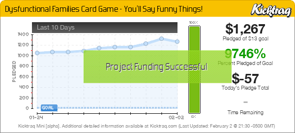 Dysfunctional Families Card Game - You'll Say Funny Things! -- Kicktraq Mini