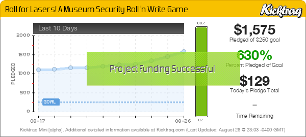 Roll for Lasers! A Museum Security Roll 'n Write Game - Kicktraq Mini