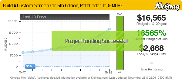 Build A Custom Screen For 5th Edition, Pathfinder 1e, & MORE - Kicktraq Mini