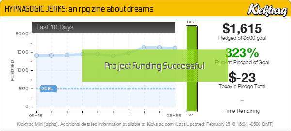 HYPNAGOGIC JERKS: an rpg zine about dreams -- Kicktraq Mini