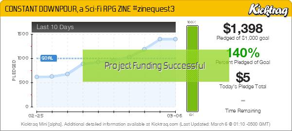 CONSTANT DOWNPOUR, a Sci-Fi RPG ZINE #zinequest3 - Kicktraq Mini