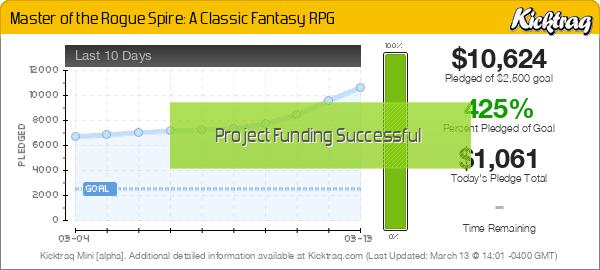 Master of the Rogue Spire: A Classic Fantasy RPG -- Kicktraq Mini