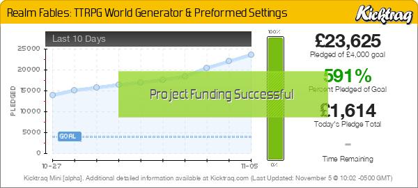 Realm Fables: TTRPG World Generator & Preformed Settings - Kicktraq Mini