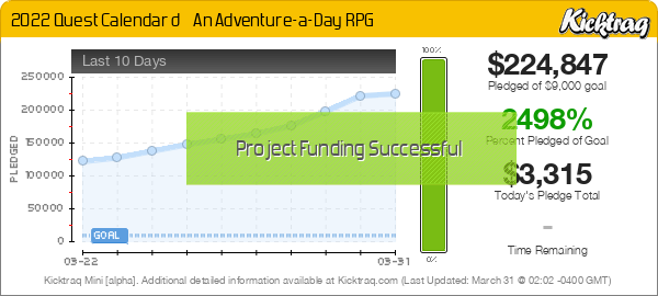 2022 Quest Calendar 📅 An Adventure-a-Day RPG - Kicktraq Mini