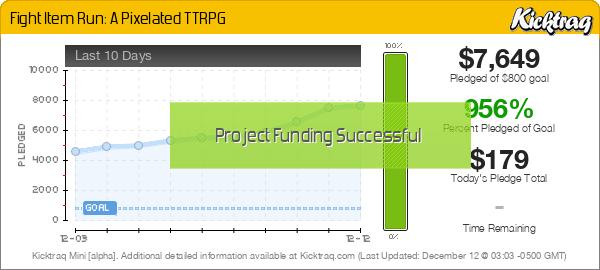 Fight Item Run: A Pixelated TTRPG -- Kicktraq Mini